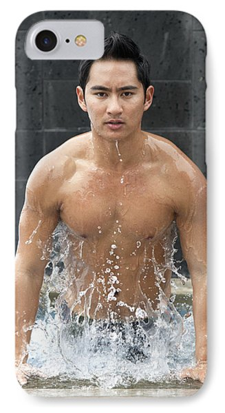Man In The Pool Phone Case by Brandon Tabiolo