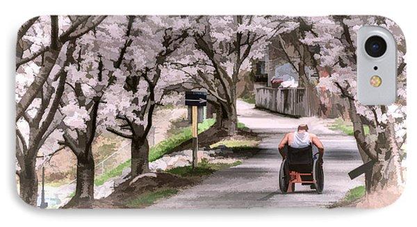 Man In Wheelchair Under Cherry Blossoms Phone Case by Dan Friend