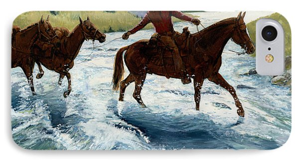 Pack Horses Crossing River IPhone Case
