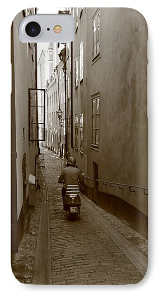 Man On Motor Scooter In A Narrow Alley - Monochrome IPhone Case