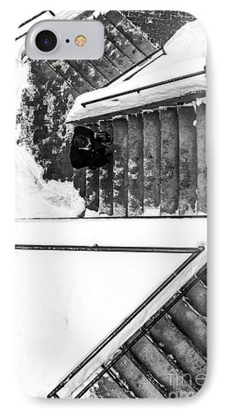 Man On Staircase Concord New Hampshire 2015 IPhone Case by Edward Fielding