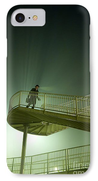 IPhone Case featuring the photograph Man On Stairs With Case In Fog by Lee Avison