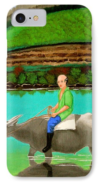 Man Riding A Carabao IPhone Case by Cyril Maza