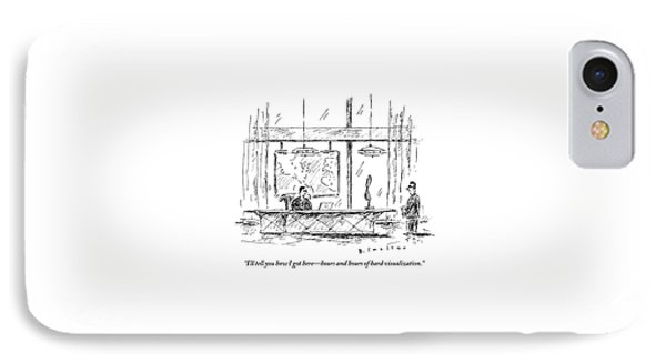 Man Sitting Behind Gigantic Desk Speaks IPhone Case by Barbara Smaller