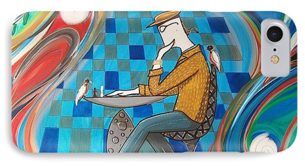 Man Sitting In Chair Contemplating Chess With A Bird IPhone Case by John Lyes