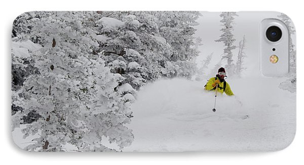 Man Skiing Through Rimed Aspen IPhone Case