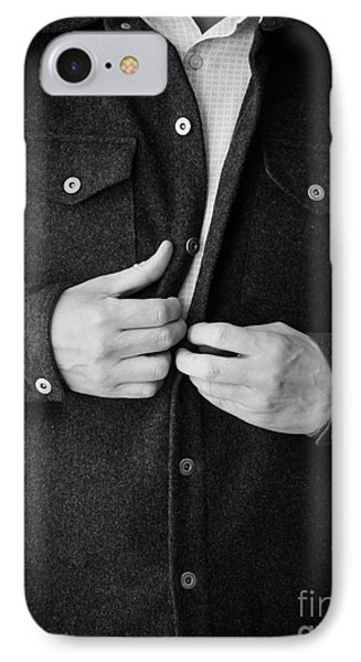 Man Unbuttoning His Shirt Phone Case by Edward Fielding