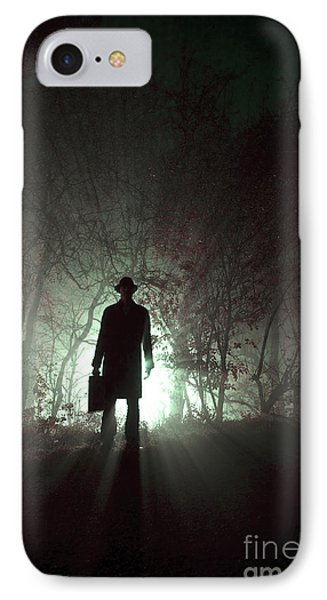 IPhone Case featuring the photograph Man Waiting In Fog With Case by Lee Avison