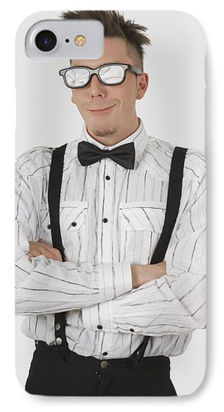 Man Wearing Sunglasses Suspenders And IPhone Case