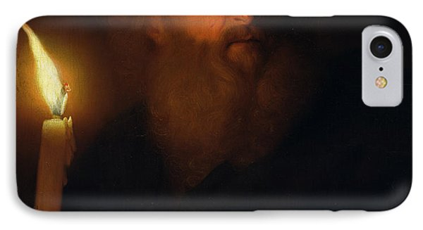 Man With A Candle IPhone Case by Godfried Schalken