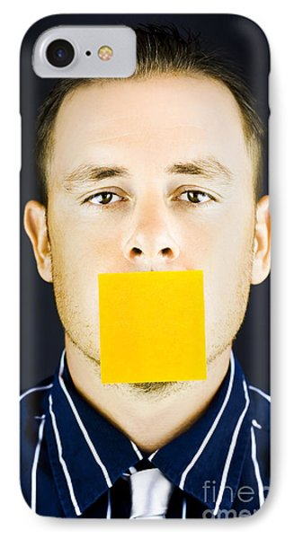 Man With Blank Paper Note Over His Mouth IPhone Case