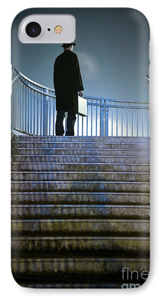IPhone Case featuring the photograph Man With Case At Night On Stairs by Lee Avison