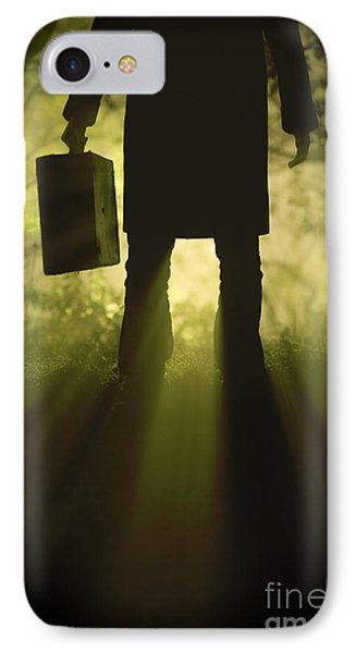 IPhone Case featuring the photograph Man With Case In Fog by Lee Avison