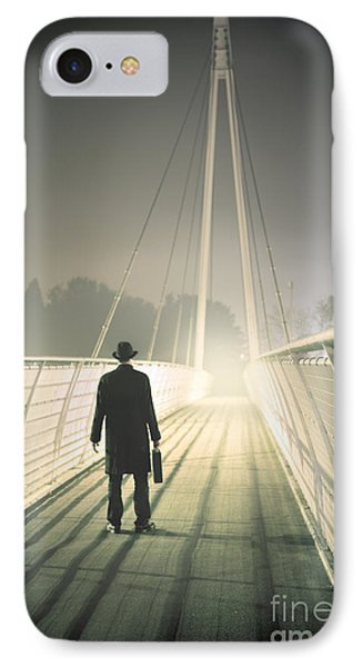 IPhone Case featuring the photograph Man With Case On Bridge by Lee Avison