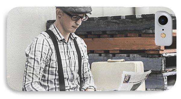 Man Writing On Old Typewriter IPhone Case