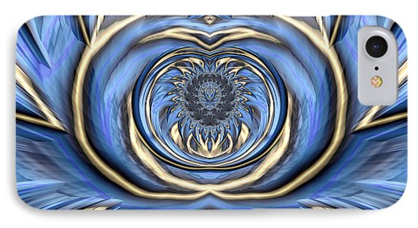 Mandala In Blue And Gold IPhone Case by John Edwards