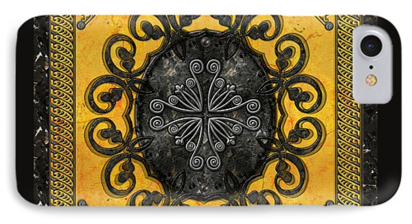 Mandala Obsidian Cross Phone Case by Bedros Awak