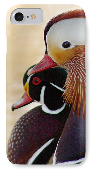 IPhone Case featuring the photograph Mandarin Duck And Wood Duck by Bob and Jan Shriner
