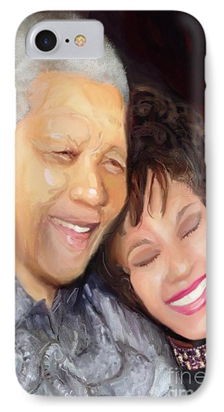 IPhone Case featuring the painting Mandela And Whitney by Vannetta Ferguson