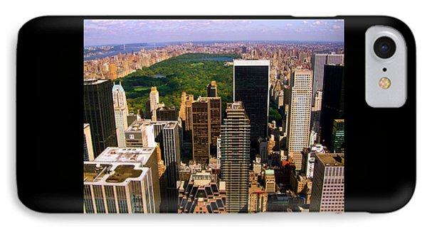 Manhattan And Central Park Phone Case by Monique Wegmueller