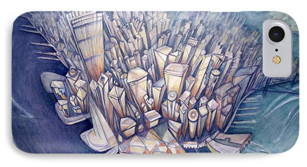 Manhattan From Above, 1994 Oil On Canvas IPhone Case by Charlotte Johnson Wahl