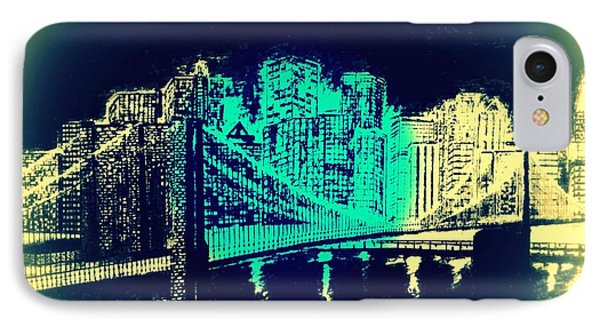 Manhattan In Blue Phone Case by Irving Starr