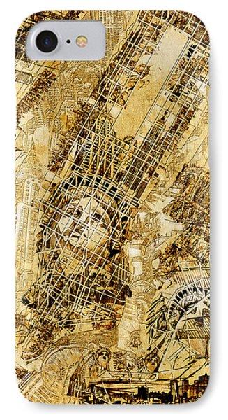 Manhattan Map Antique Phone Case by Bekim Art