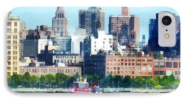 Manhattan - Tugboat Against Manhattan Skyline Phone Case by Susan Savad