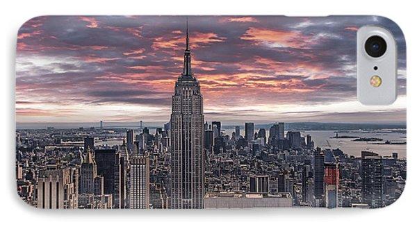 Manhattan Under A Red Sky IPhone Case by Joachim G Pinkawa