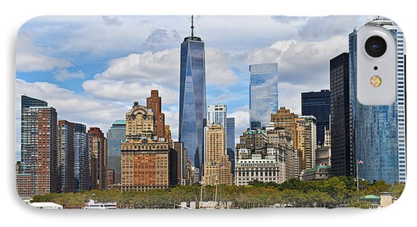 Manhattan's Financial District Skyline  IPhone Case by Peter Dang