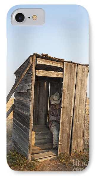 Mannequin Sitting In Old Wooden Outhouse IPhone Case