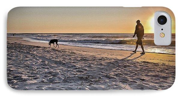 Man's Best Friend On Beach IPhone Case