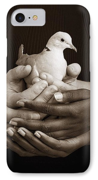 Many Hands Holding A Dove Phone Case by Ron Nickel