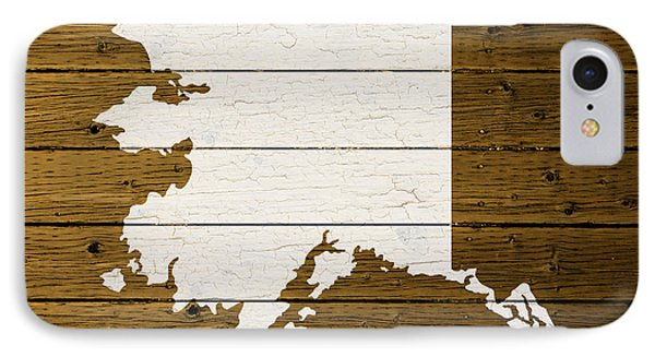 Map Of Alaska State Outline White Distressed Paint On Reclaimed Wood Planks. IPhone Case by Design Turnpike