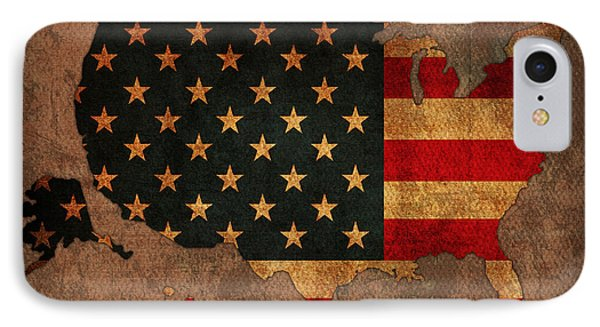 Map Of America United States Usa With Flag Art On Distressed Worn Canvas IPhone Case by Design Turnpike