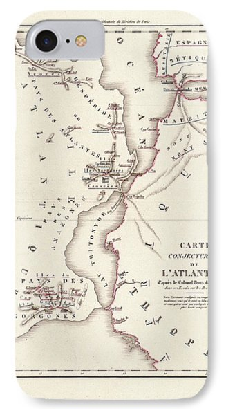 Map Of Atlantis IPhone 7 Case by Library Of Congress, Geography And Map Division