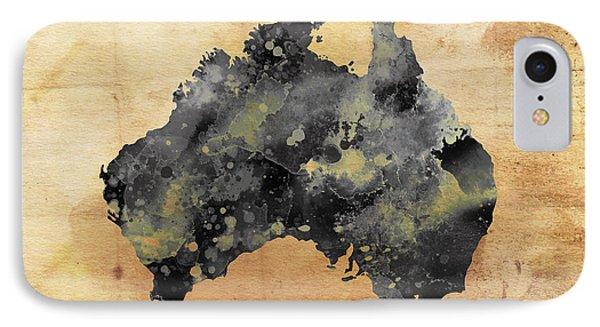 Map Of Australia Grunge Phone Case by Daniel Hagerman