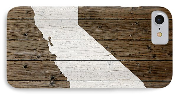 Map Of California State Outline White Distressed Paint On Reclaimed Wood Planks IPhone Case by Design Turnpike