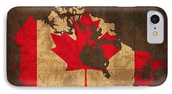 Map Of Canada With Flag Art On Distressed Worn Canvas IPhone Case by Design Turnpike