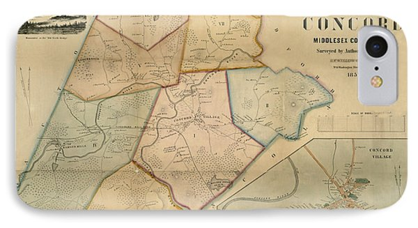 Map Of Concord 1852 IPhone Case