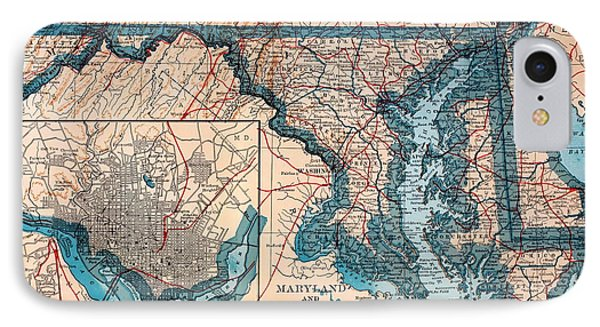 Map Of Delaware And Maryland 1921 IPhone Case by Mountain Dreams