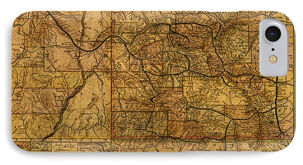 Map Of Denver Rio Grande Railroad System Including New Mexico Circa 1889 IPhone Case by Design Turnpike