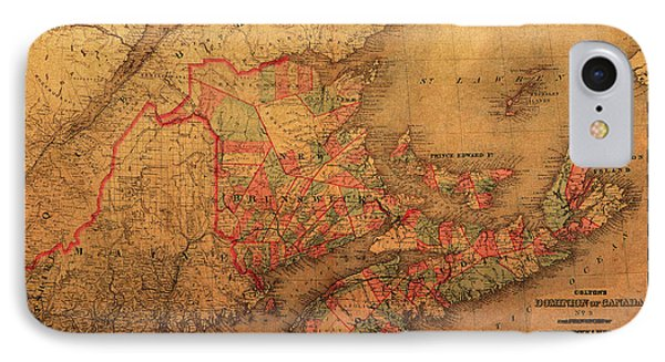 Map Of Eastern Canada Provinces Vintage Atlas On Worn Canvas IPhone Case