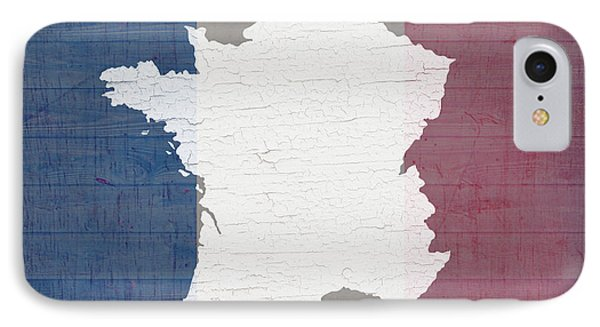 Map Of France In White Old Paint On French Flag Barn Wood  IPhone Case by Design Turnpike