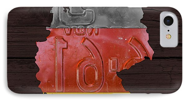 Map Of Germany Plus German Flag License Plate Art On Gray Wood Board IPhone Case by Design Turnpike