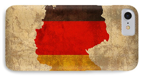 Map Of Germany With Flag Art On Distressed Worn Canvas Phone Case by Design Turnpike