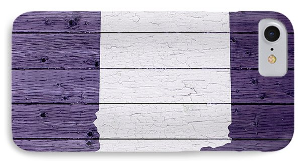 Map Of Indiana State Outline White Distressed Paint On Reclaimed Wood Planks IPhone Case