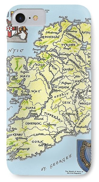 Map Of Ireland Phone Case by English School