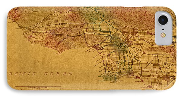 Map Of Los Angeles Hand Drawn And Colored Schematic Illustration From 1916 On Worn Parchment IPhone Case by Design Turnpike