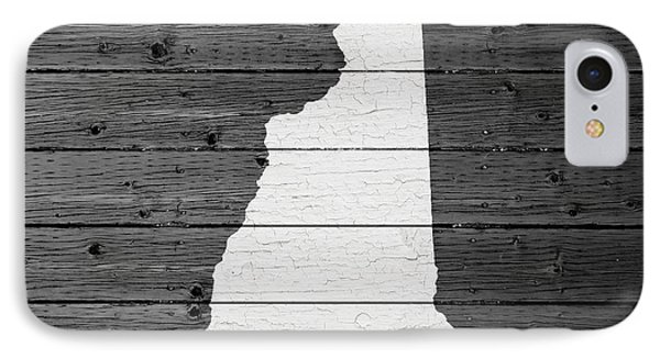 Map Of New Hampshire State Outline White Distressed Paint On Reclaimed Wood Planks IPhone Case